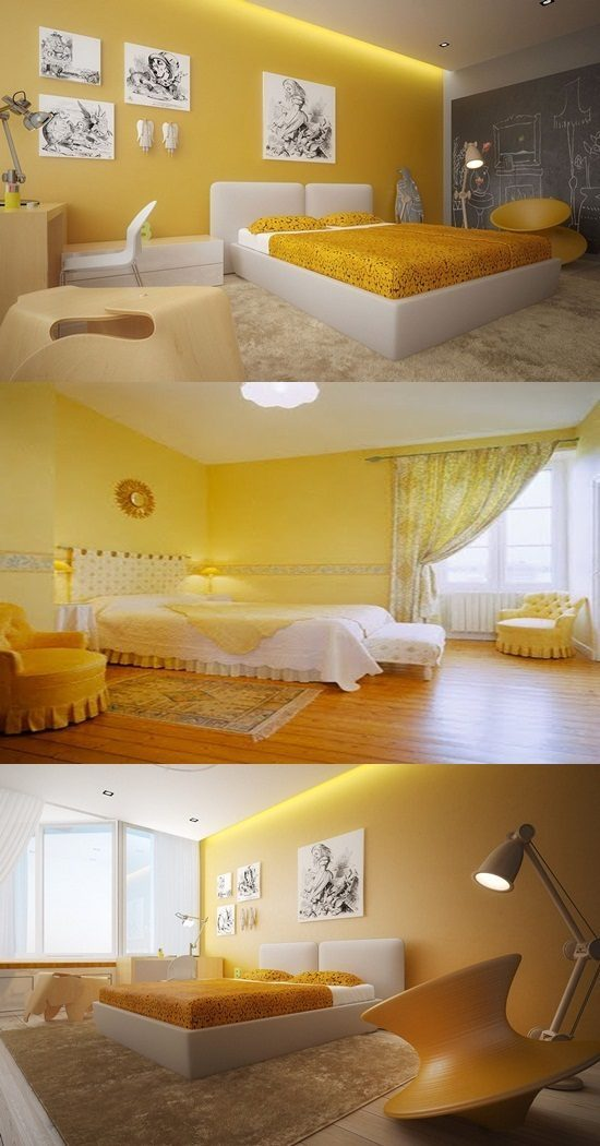 Interior bedroom white and yellow color