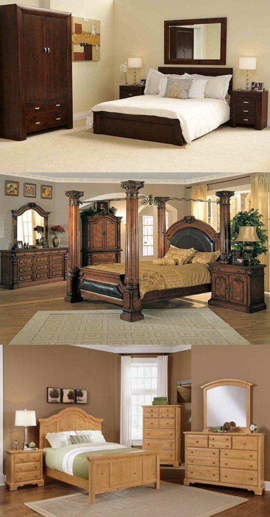 Oak wood interiors bedroom furniture