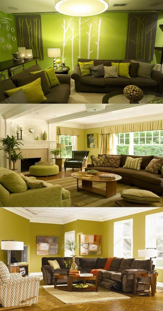 Green and brown living room decor interior design - Green living room ideas decorating ...
