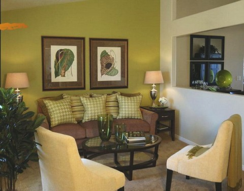 Green and brown living room decor interior design for Brown green and cream living room ideas