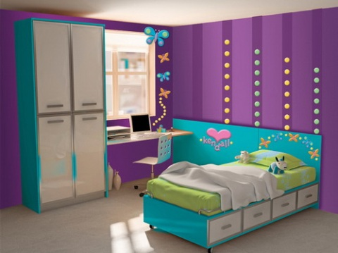 Girls 39 purple bedroom decorating ideas interior design for Blue purple bedroom ideas