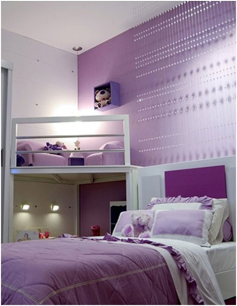 Girls 39 purple bedroom decorating ideas interior design for Violet bedroom designs