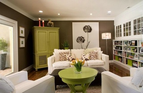 Green and brown living room decor interior design for Green and brown living room walls