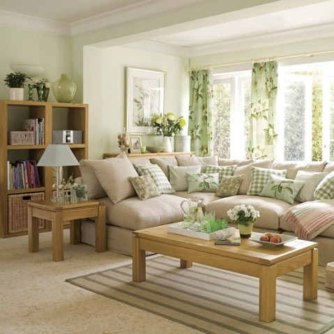 Green and brown living room decor interior design for Green living room ideas