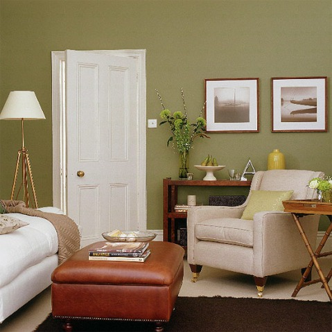 Green and brown living room decor interior design for Living room designs green