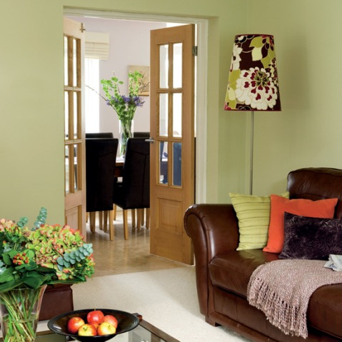 Green and brown living room decor interior design for Living room furnishings and design