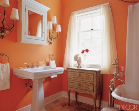 Orange bathroom decorating ideas interior design for Orange and grey bathroom accessories