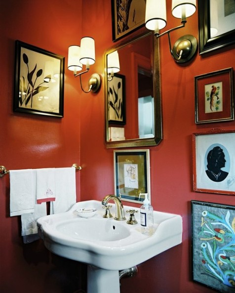 Pics Photos Chic Orange Bathroom Decorating Ideas With Various