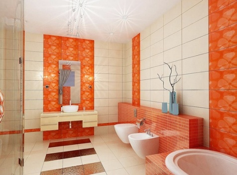 Classy Orange Bathroom Decoration Inspiration Design Of