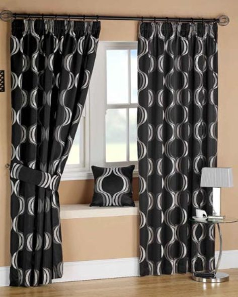 Black bedroom curtains interior design for Curtains for the bedroom ideas