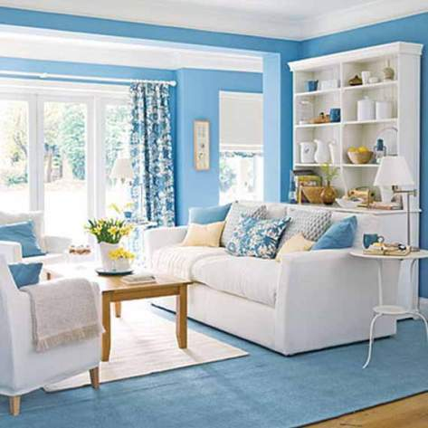 Blue living room decorating ideas interior design for Blue wall living room ideas