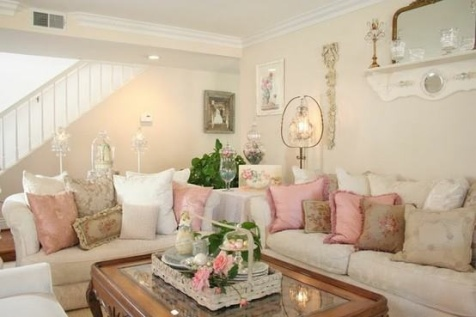 French shabby chic furniture interior design - Salones estilo shabby chic ...