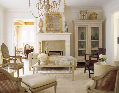 French country living room style interior design for The family room in french