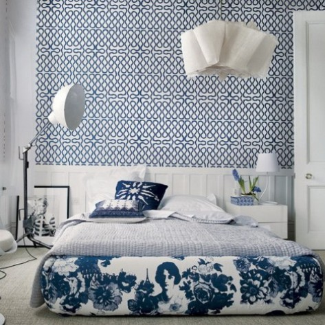 Wallpaper border for teenage girls bedroom interior design - Blue bedroom wallpaper ideas ...