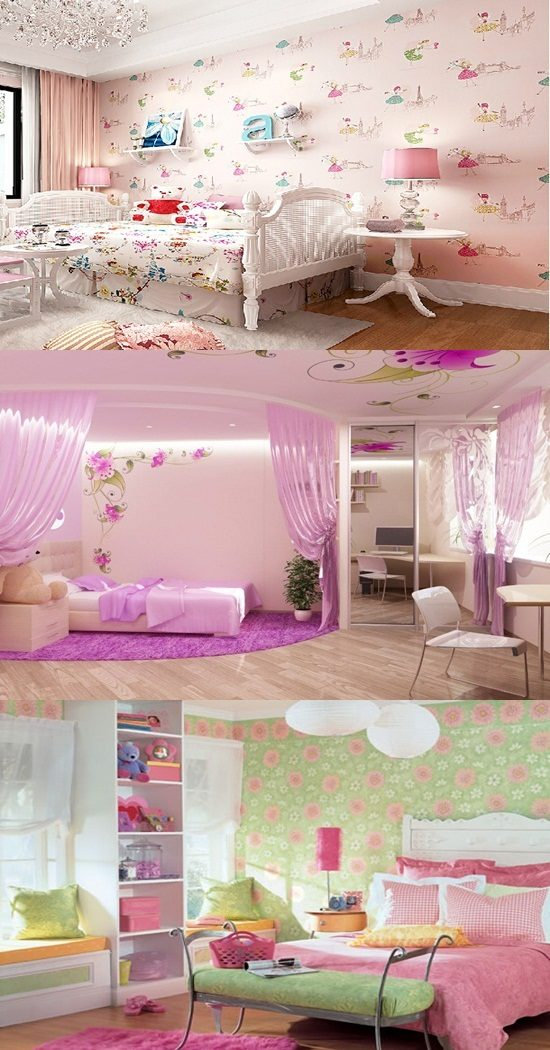 Wallpaper border for teenage girls bedroom interior design for Bedroom for girl interior design