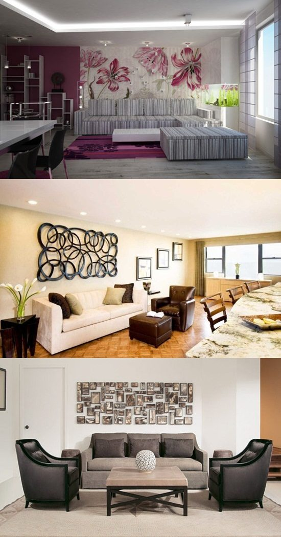 how to decorate a large wall in living room interior design
