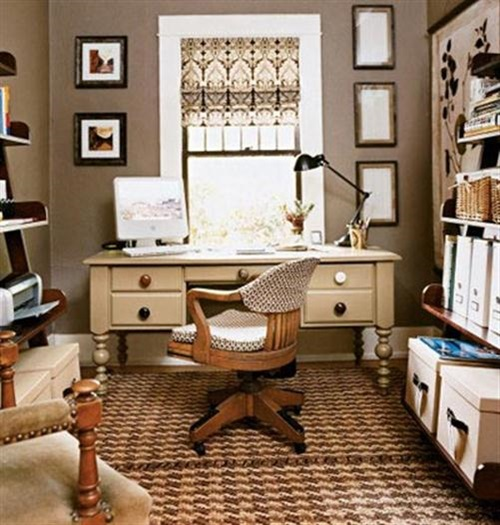6 creative small home office ideas interior design for Home office interior design ideas