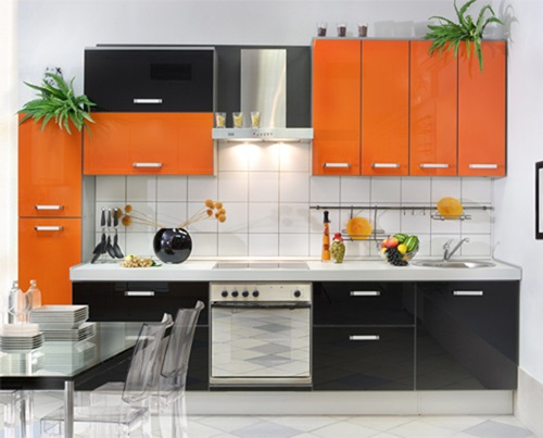 Vibrant orange kitchen decorating ideas interior design for Kitchen interior colour