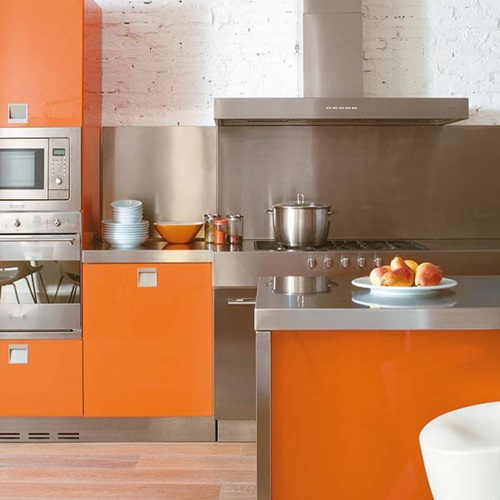 vibrant orange kitchen decorating ideas interior design. Black Bedroom Furniture Sets. Home Design Ideas