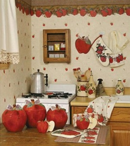 Apple decorations for kitchens interior design for Apple kitchen decoration set
