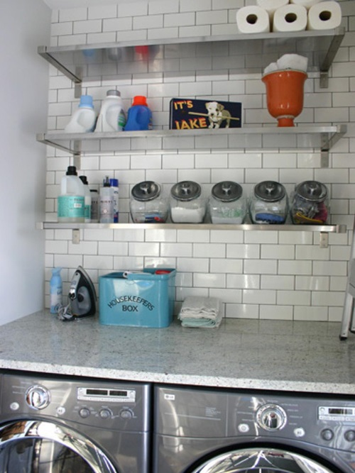 Laundry Countertop Materials : ... laundry-room-with-chic-cabinet-and-white-countertop-with-white-washing