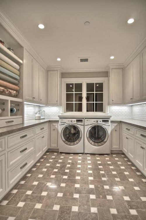 Chic laundry room decorating ideas interior design for Laundry room floor ideas