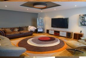 Living Room brown wall Design Ideas