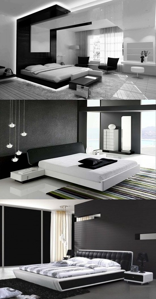 Modern black and white bedroom design ideas interior design for Black and white modern