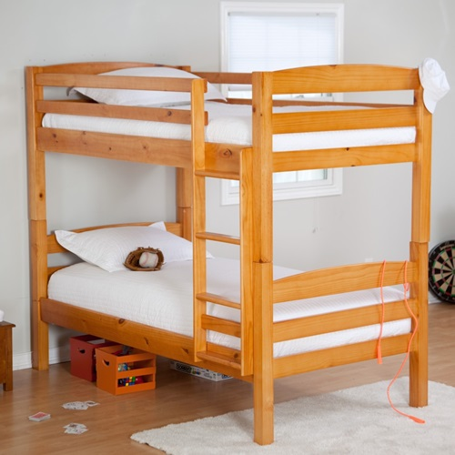 bunk-beds-simple-wooden-bunk-bed-with-white-bed-covered-and-pillows ...