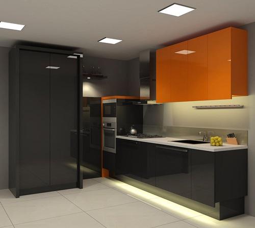 Black and Orange Modern Kitchen Furniture Designs