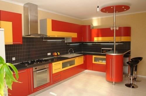 astonishing orange kitchen furniture | Black and Orange Modern Kitchen Furniture Designs ...
