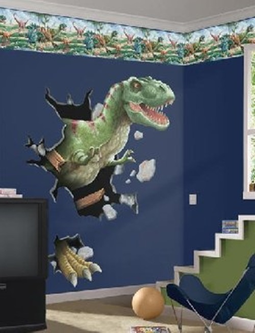 Dinosaurs wall themes for kids room interior design - Boys room dinosaur decor ideas ...