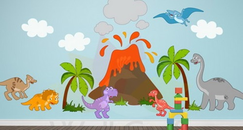 Dinosaurs wall themes for kids room interior design for Dinosaur themed kids room