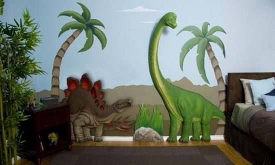 Dinosaurs wall themes for kids room interior design for Dinosaur mural ideas