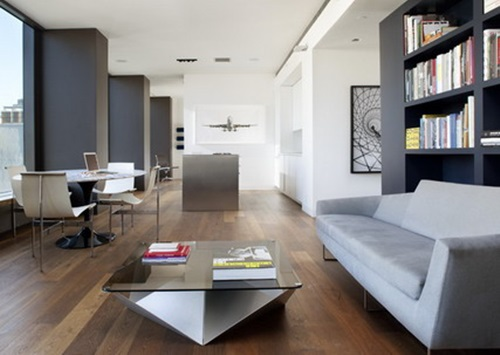 Home Office Combined with Living Rooms for Small Spaces