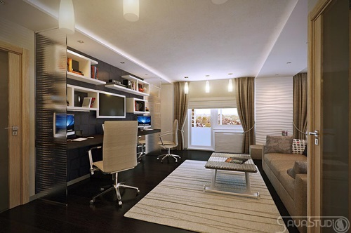 Home Office Combined With Living Rooms For Small Spaces Interior Design