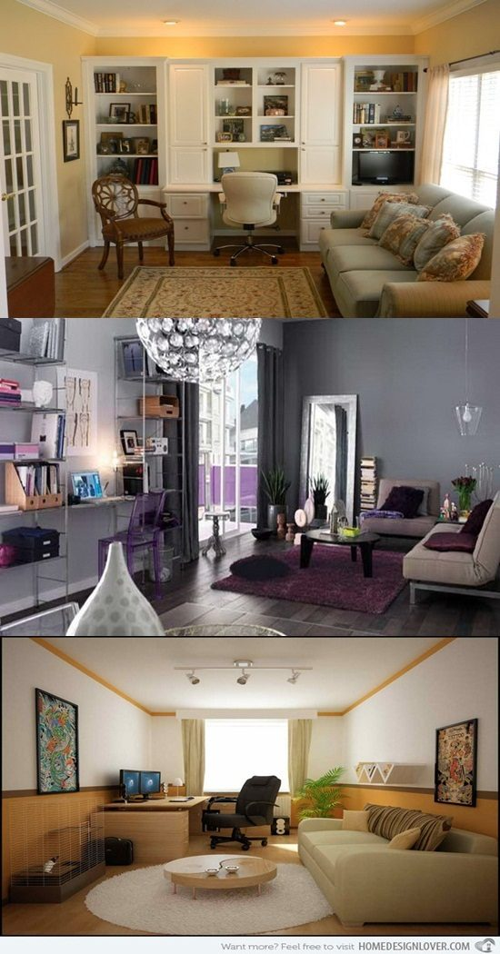 Interior Design For Living Room For Small Space: Home Office Combined With Living Rooms For Small Spaces
