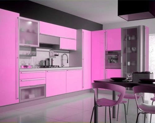 Modern Pink Kitchen Design  Interior design