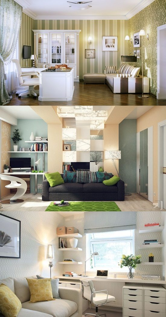 Interior Kitchen Design With Tv Room: Practical Home Office Desk For Living Rooms