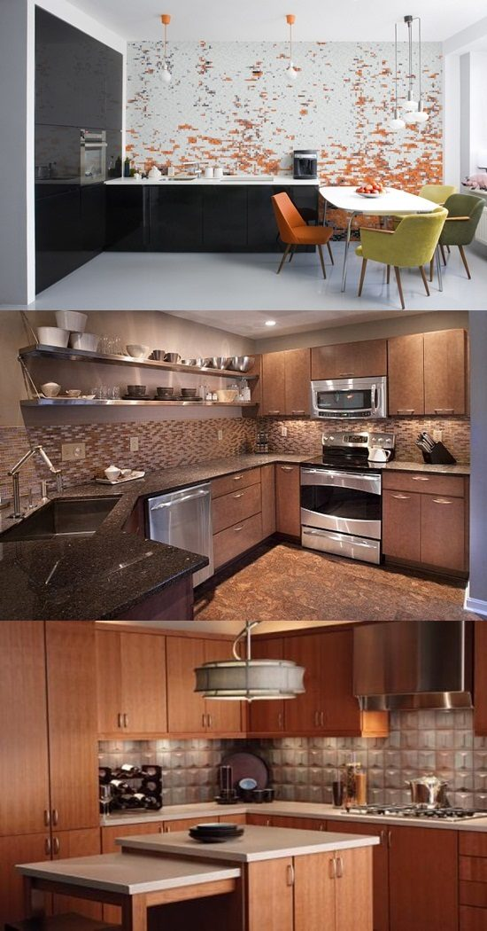 Colourful mozaic tile design for modern kitchen