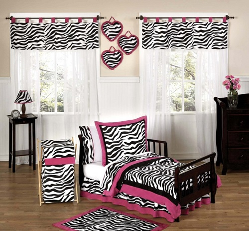 Zebra strips with pink for girlish bedroom designs