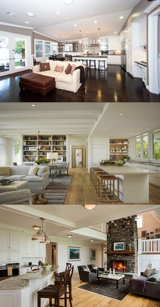 Design For Living Room With Open Kitchen: Open Kitchen To Living Room Designs