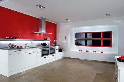Red And White Kitchen Cabinets ...