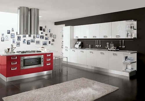 Red and white kitchen cabinets