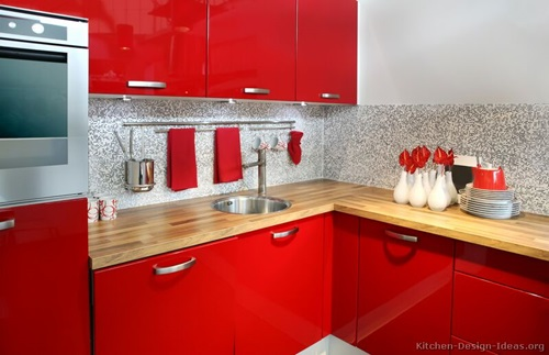 ... Red And White Kitchen Cabinets ...