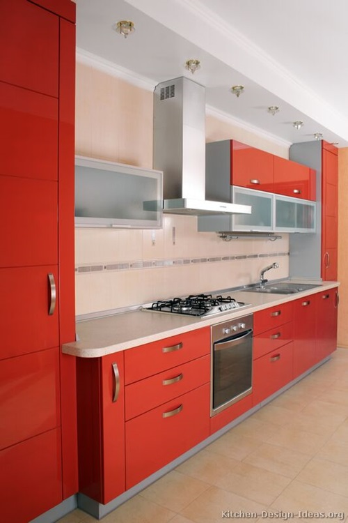 ... Red And White Kitchen Cabinets .