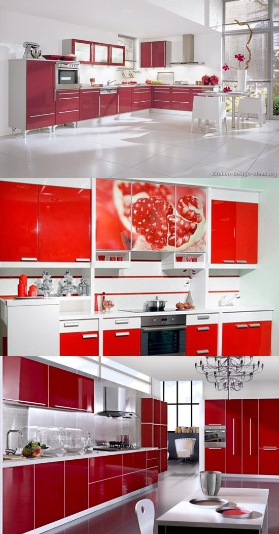 Red And White Kitchen Cabinets Interior Design