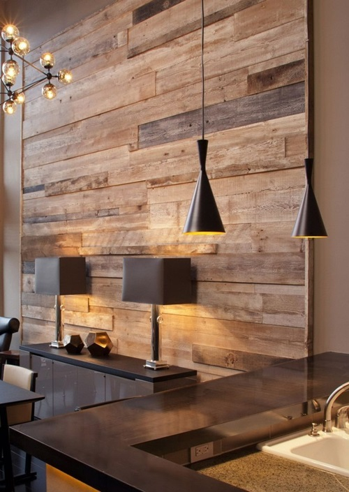 Wall cladding...wallpaper, fabric and wood!