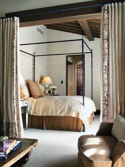 Traditional Mediterranean Bedroom Curtain Ideas Interior