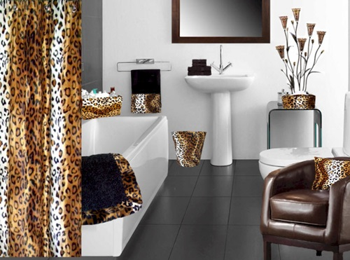 African Safari Bathroom Curtain Ideas